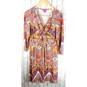 Sunny Leigh Knotted Front Dress Sz L 14 Boho